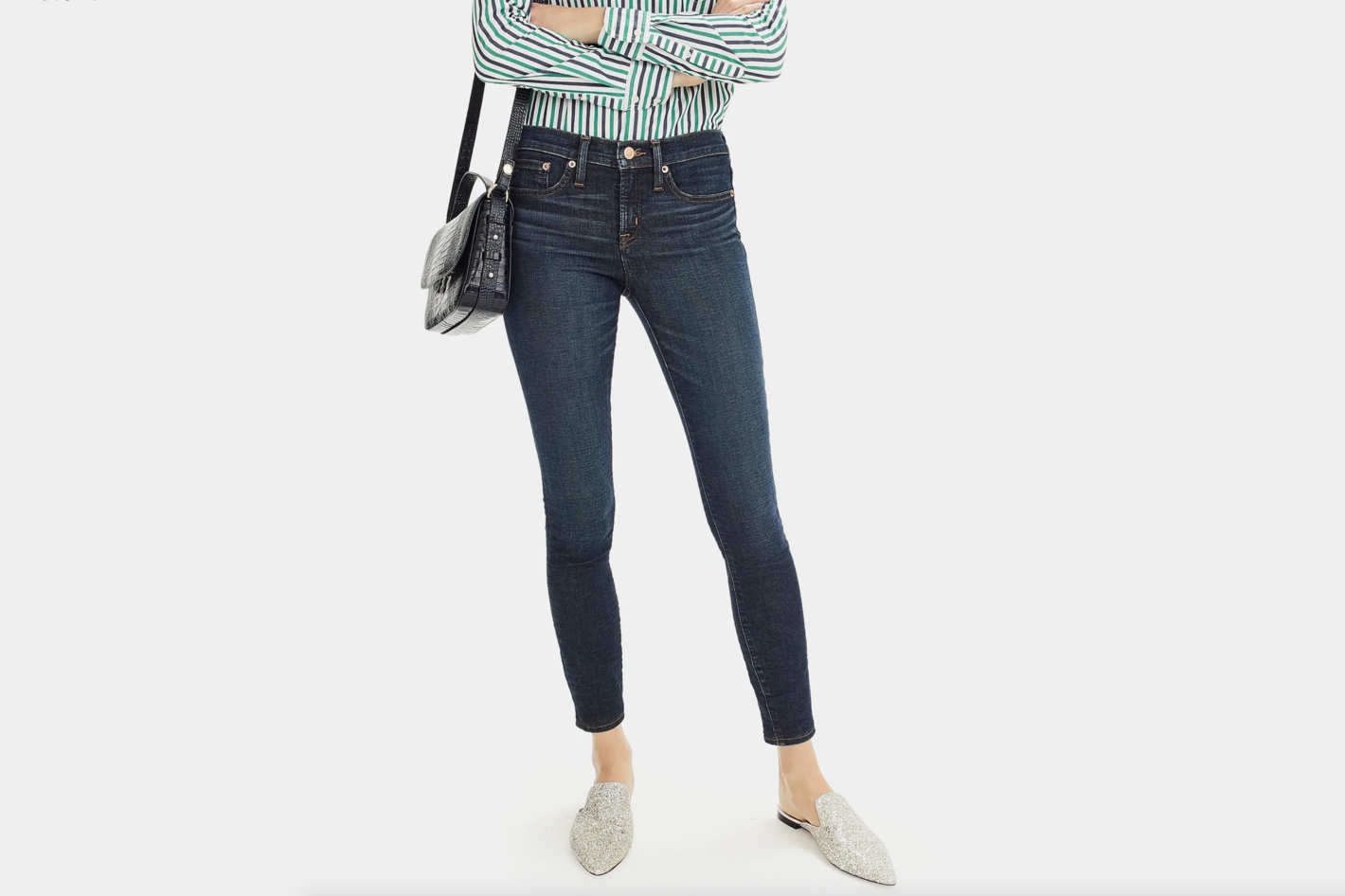 "J.Crew Tall 8"" Toothpick Jean in Deep Worn Wash"