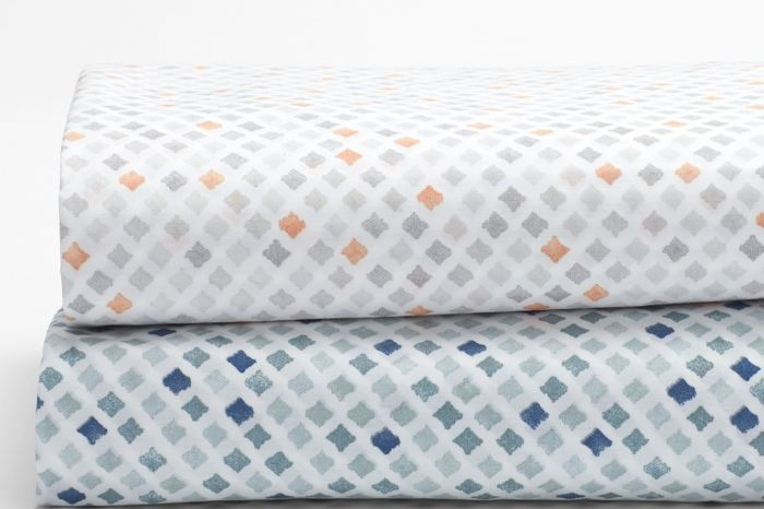 Watercolor Printed Diamond Organic King Sheet Set