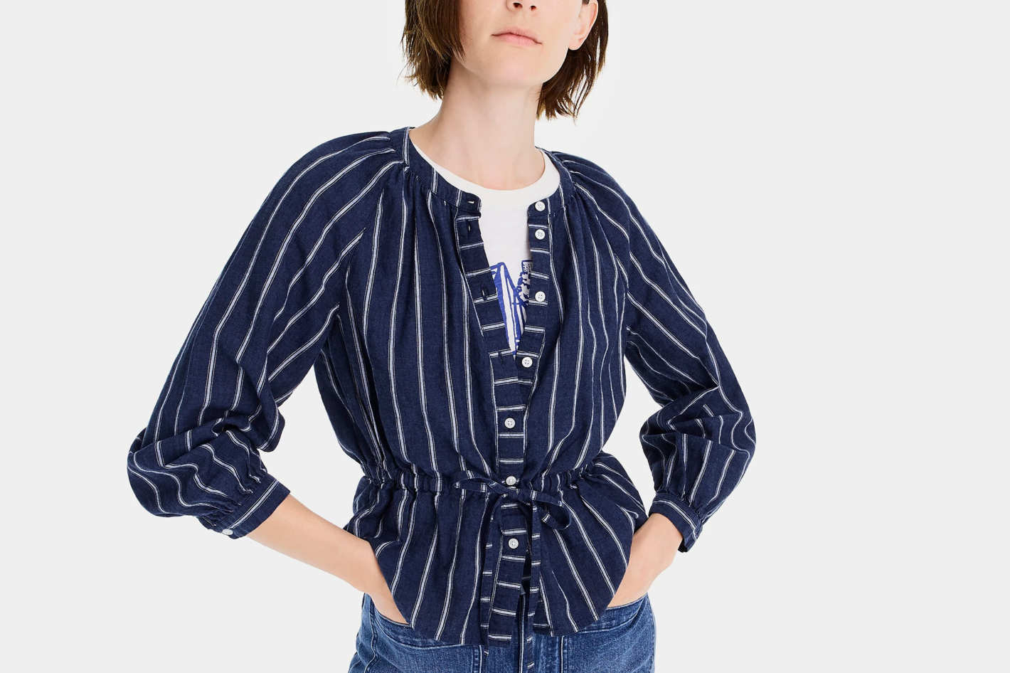J. Crew Tie-Waist Top in Indigo Gauze Stripe