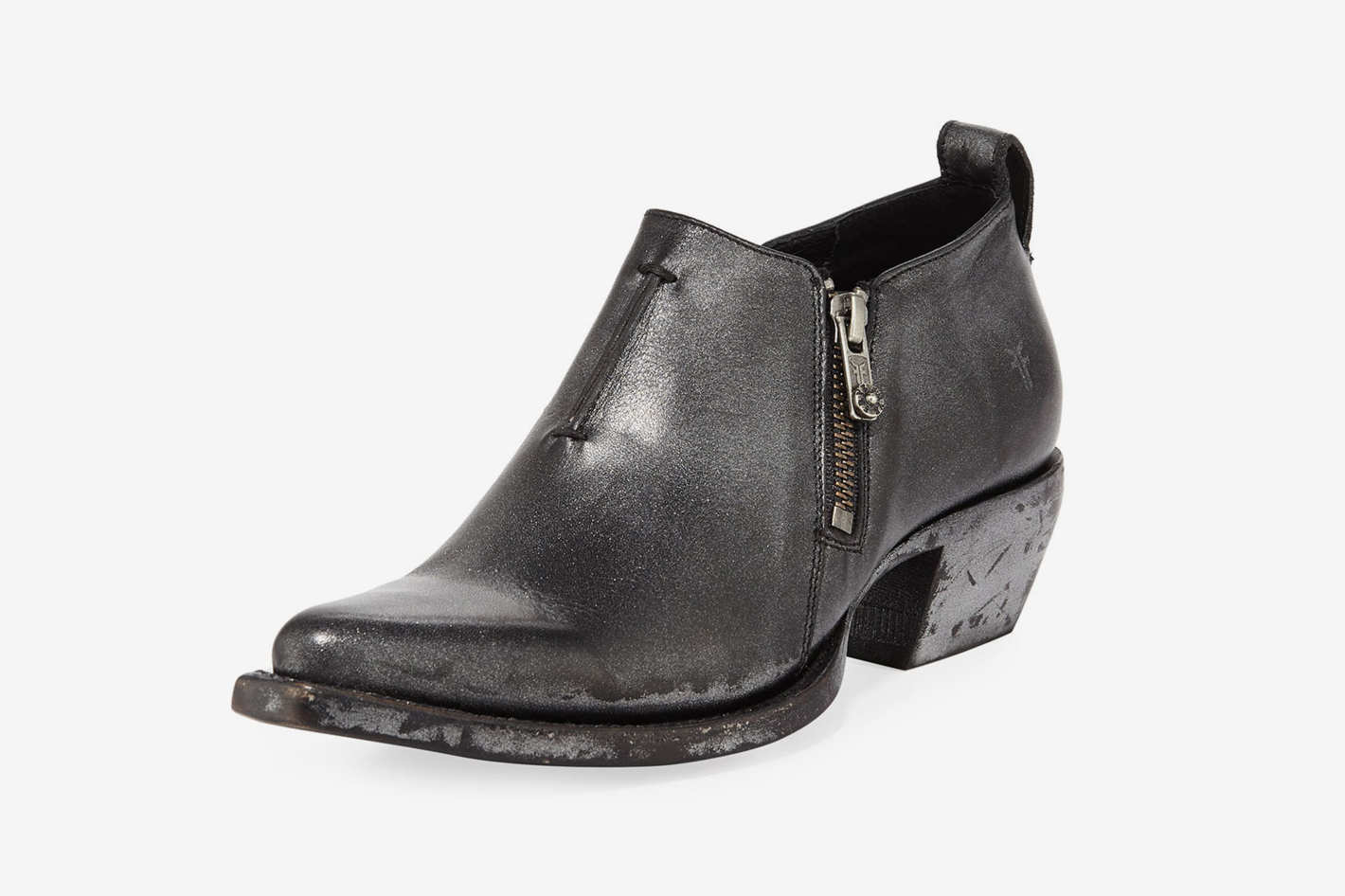 Frye Sacha Metallic Leather Zip Short Booties