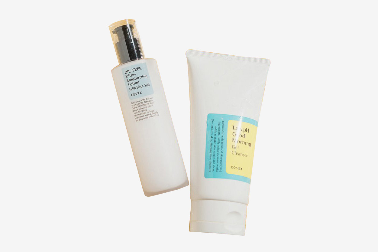 Cosrx Low-pH Good Morning Cleanser and Cosrx Oil-Free Ultra-Moisturizing Lotion