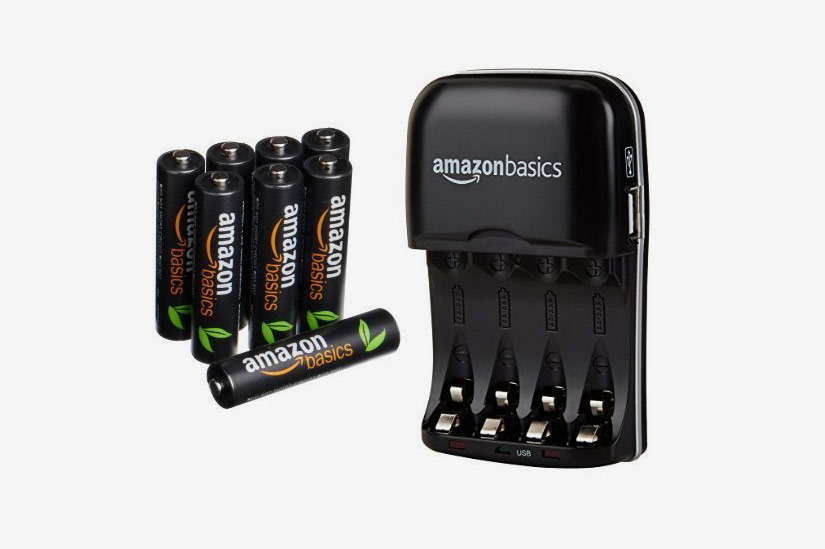 AmazonBasics AAA High-Capacity Rechargeable Batteries and 8-Battery AA/AAA Charger With USB Port Set