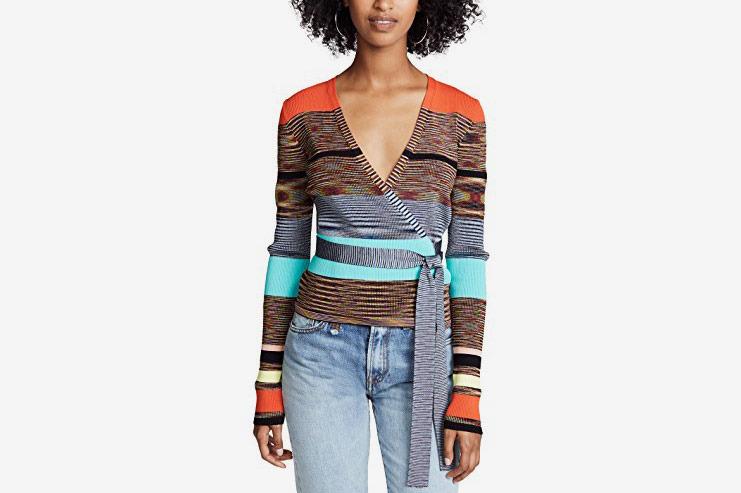 Diane von Furstenberg Cropped Wrap Sweater