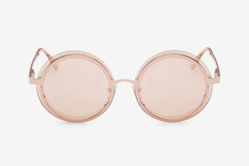 Le Specs Luxe Ovation Rose Gold Circle Sunglasses