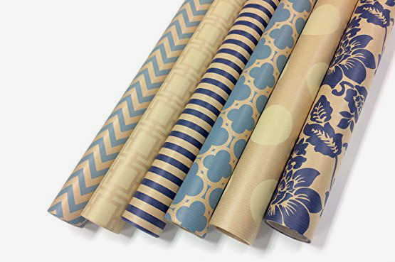 Kraft Blue and Cream Wrapping Paper