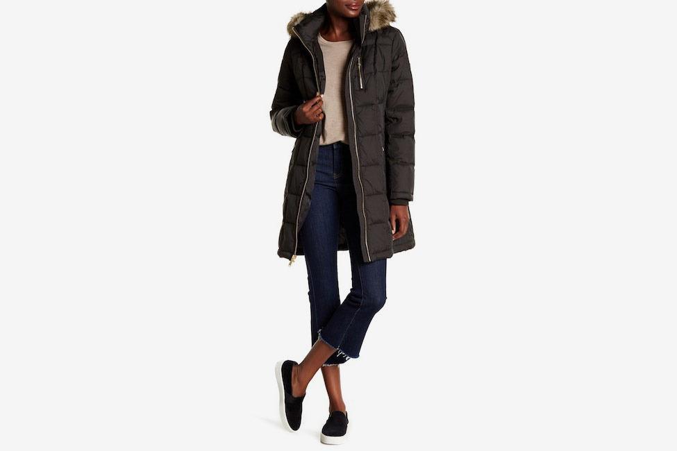 MICHAEL Michael Kors Missy Front Zip Faux Fur Collared Jacket