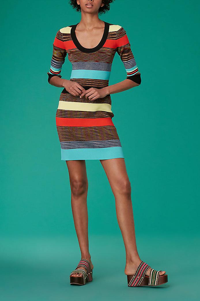 Diane von Furstenberg Scoop Neck Ribbed Sweater Dress