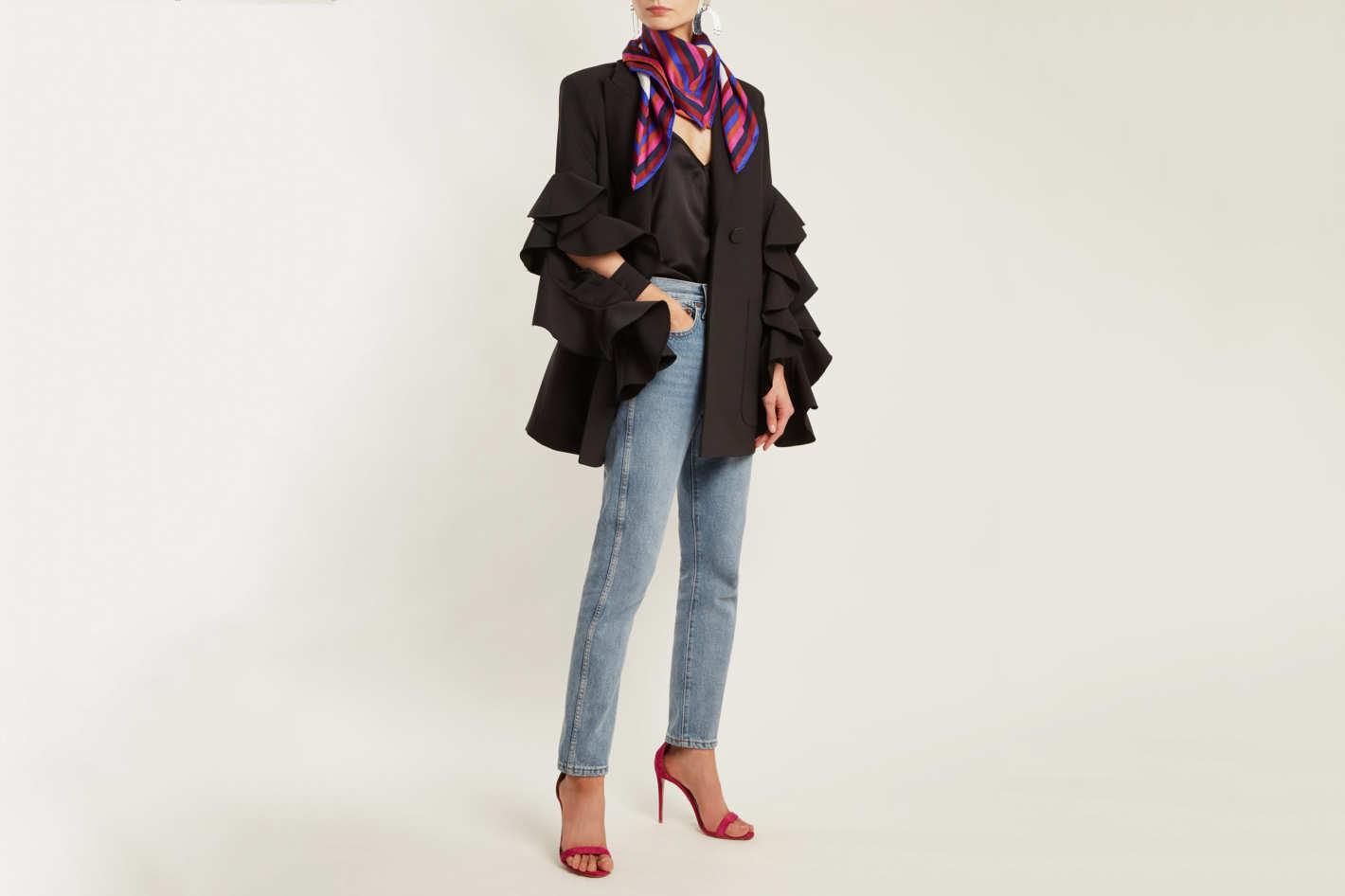 Diane von Furstenberg Cubic-print stripe silk scarf