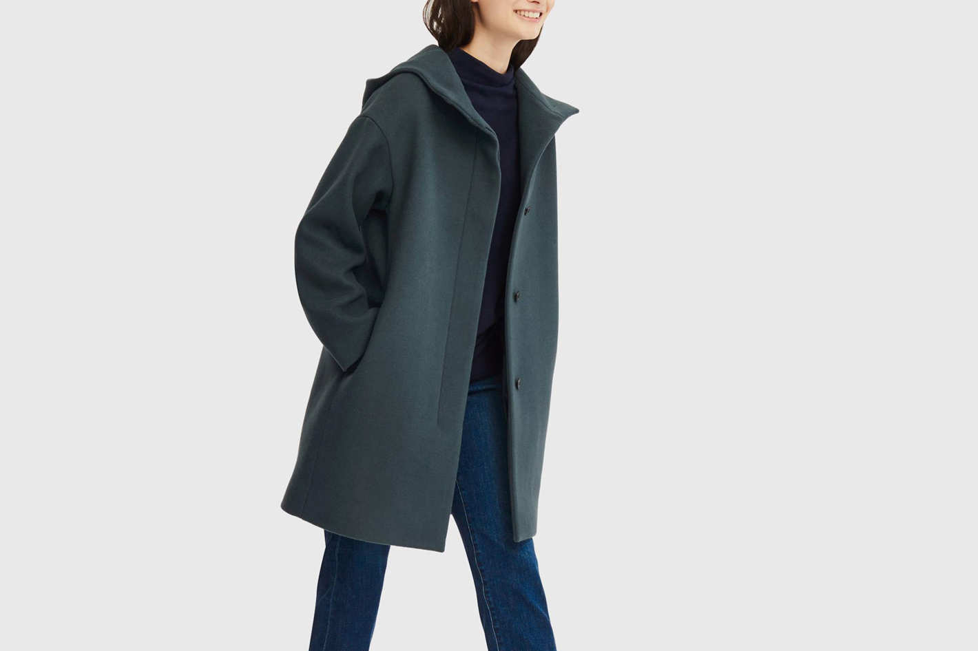 Uniqlo Women's Lightweight Wool-Blend Hooded Coat
