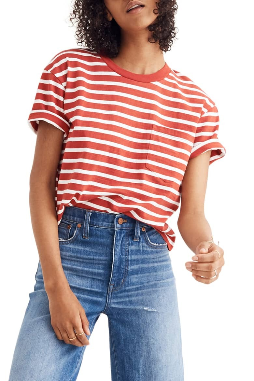 Madewell Stripe Easy Crop Tee