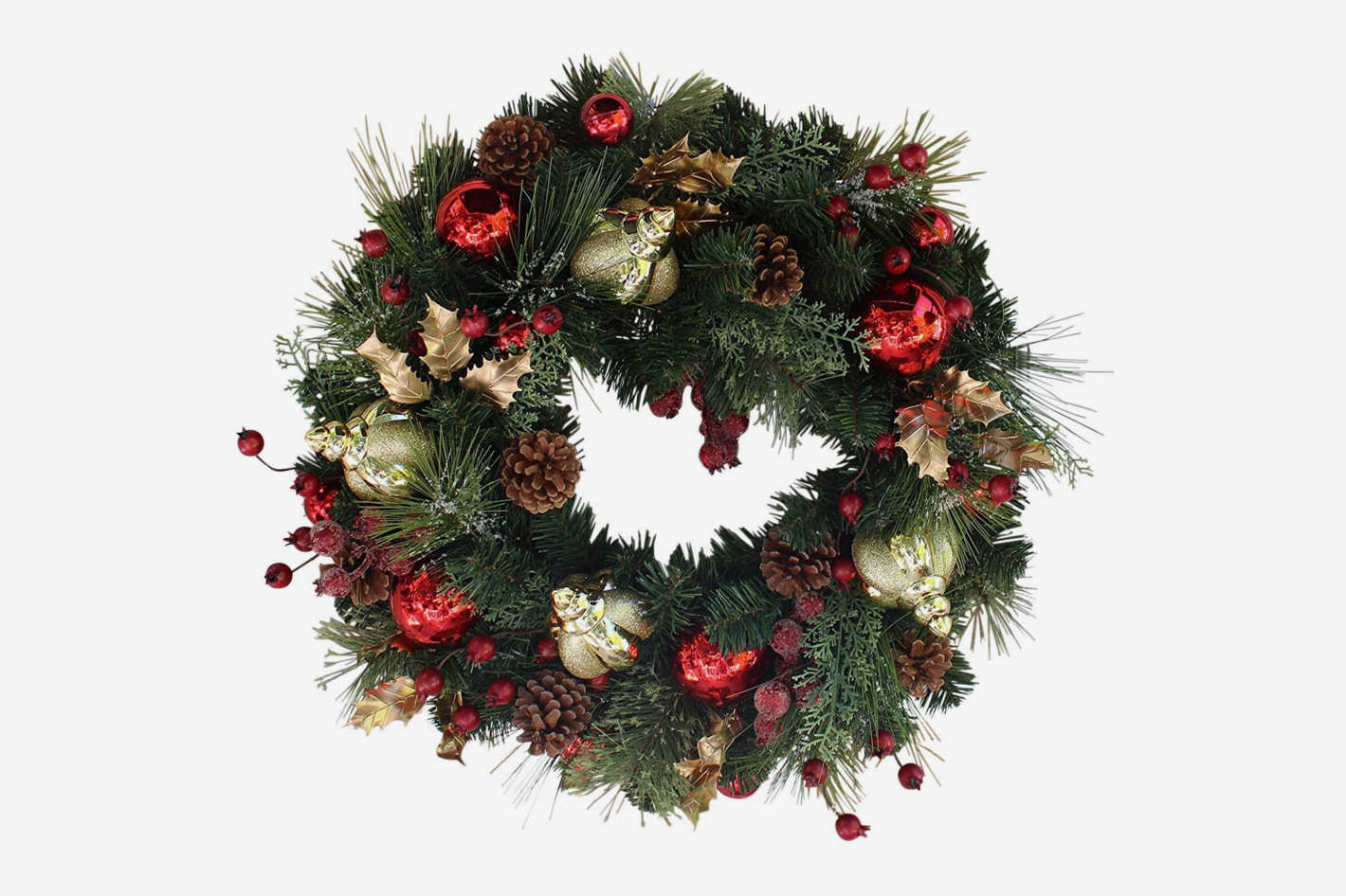 The Wreath Depot Queensbury Decorated Christmas Wreath 22 Inch
