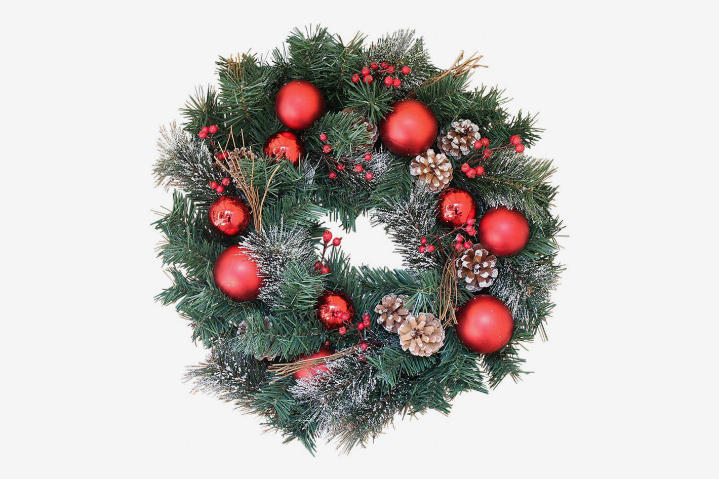 The Wreath Depot Whitehall Decorated 22-Inch Christmas Wreath