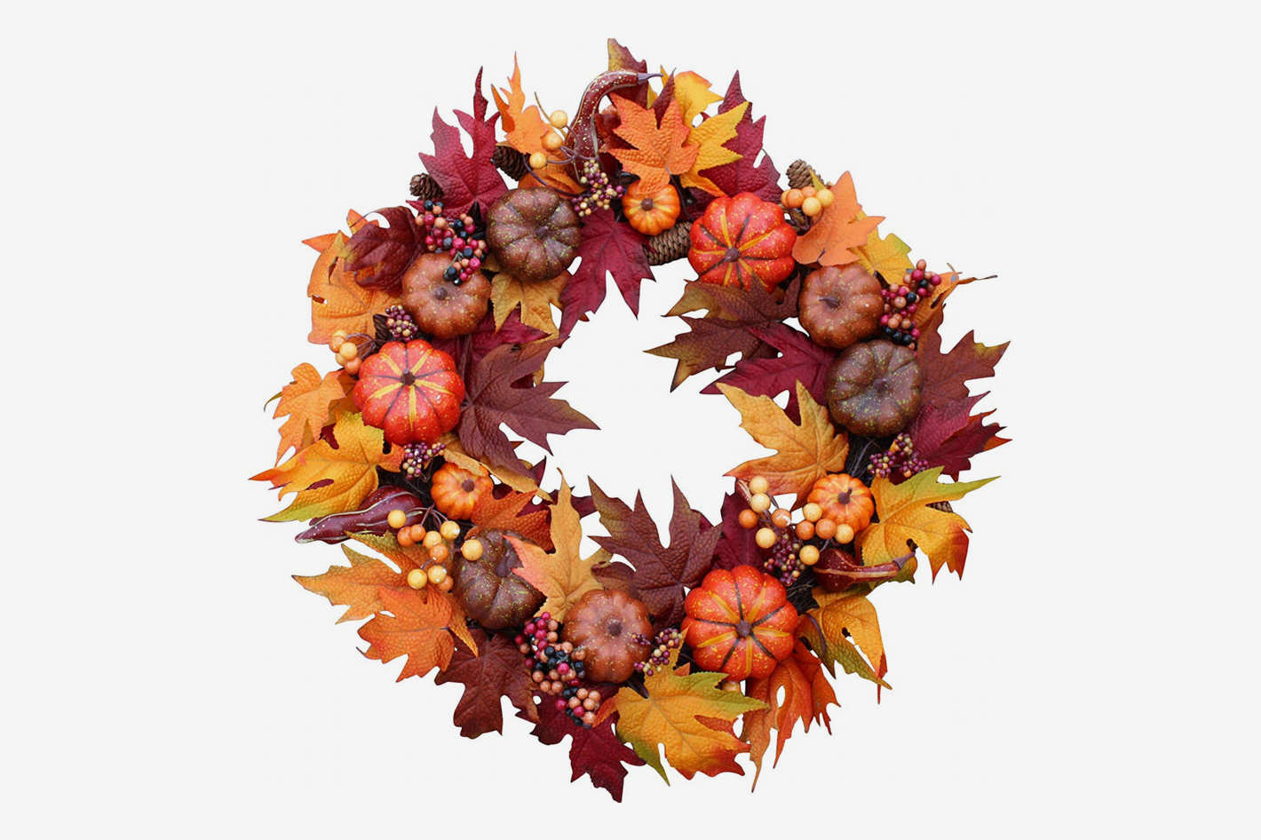 The Wreath Depot Woodbury Pumpkin Harvest Silk 22-Inch Wreath
