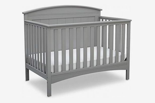 Delta Children Archer Solid Panel 4-in-1 Convertible Baby Crib, Gray