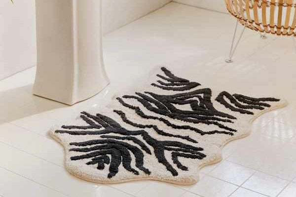 Urban Outfitters Faux Hide Black + White Bath Mat