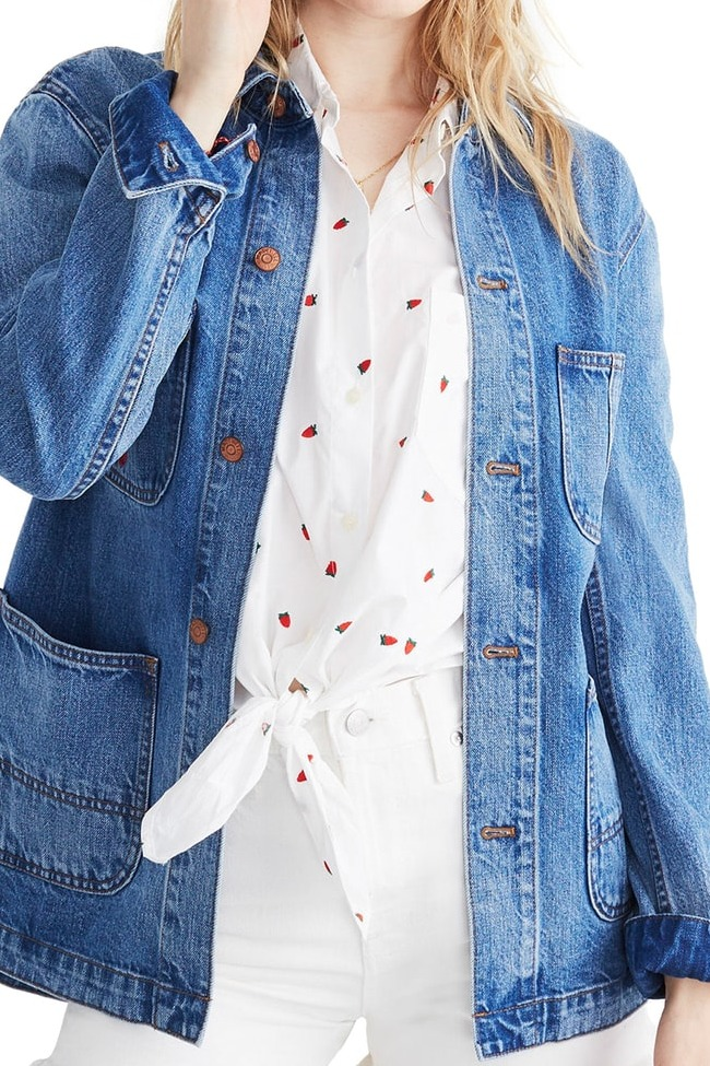 Madewell Strawberry Embroidered Workwear Jacket
