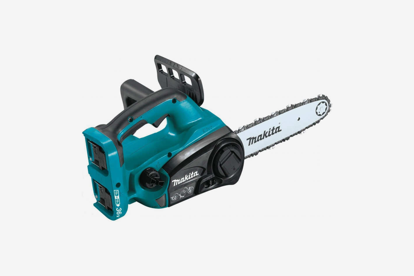 Makita XCU02PTX1 18V X2 36V LXT Lithium-Ion 12-Inch Chainsaw Kit and Brushless Angle Grinder