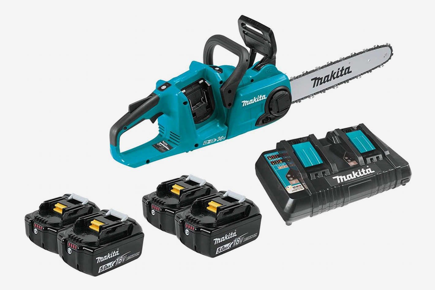 Makita XCU03PT1 Lithium-Ion Brushless Cordless 14-Inch Chainsaw Kit with Four Batteries