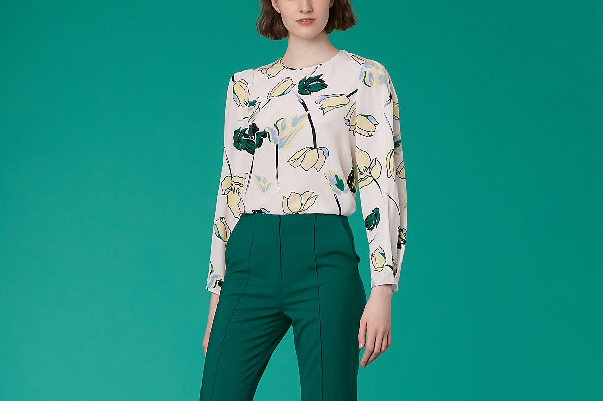 Diane von Furstenberg Cinched Sleeve Crew Neck Shirt