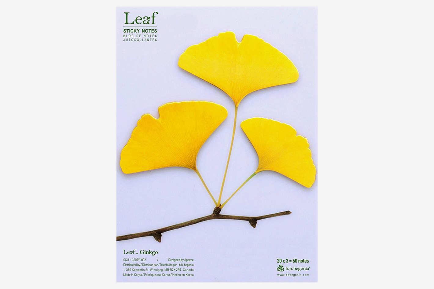 b.b.begonia Leaf_Ginkgo -Sticky Notes, Yellow, Large