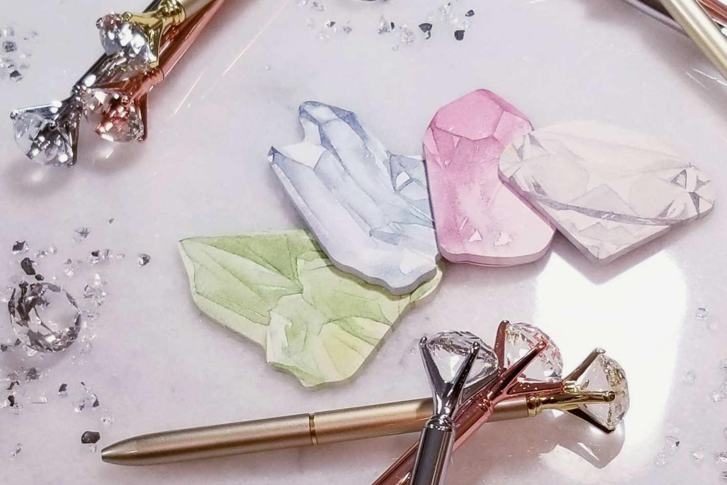 Set of 4 Crystal Sticky Note Pads