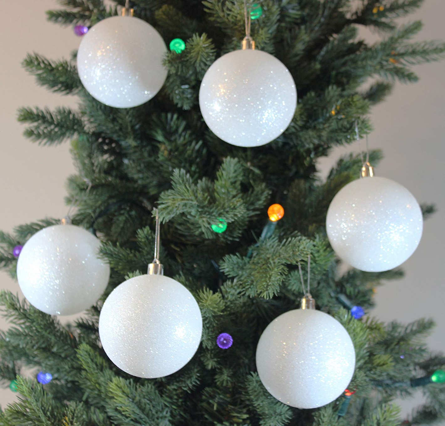 Festive Season 12 Pack 80mm White Snowball Christmas Tree Ball Ornaments