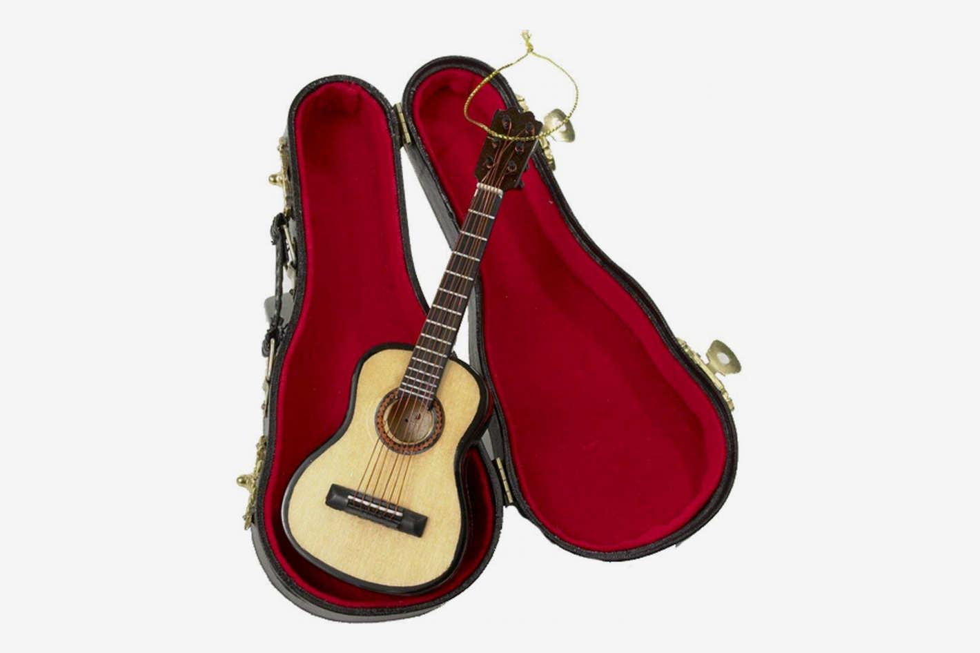 Kurt Adler 5.52-InchWood Pearlized Guitar Ornament