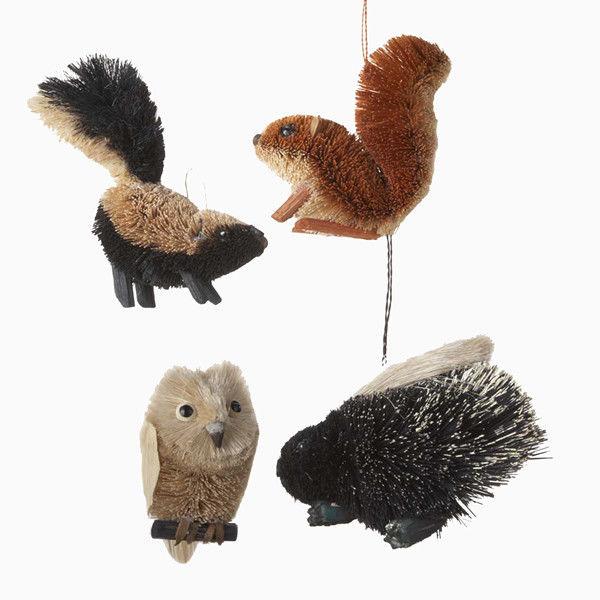 Kurt Adler Buri Woodland Animal Hanging Ornaments, Set of 4