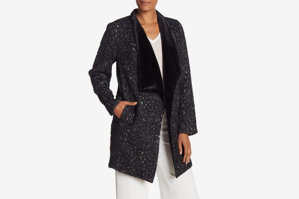 Elie Tahari Christina Leopard Print Faux Fur Shawl Coat