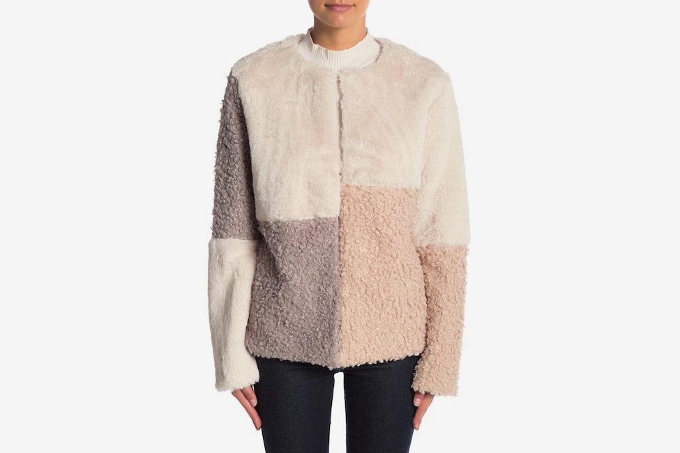Sam Edelman Faux Fur & Faux Shearling Patch Reversible Jacket