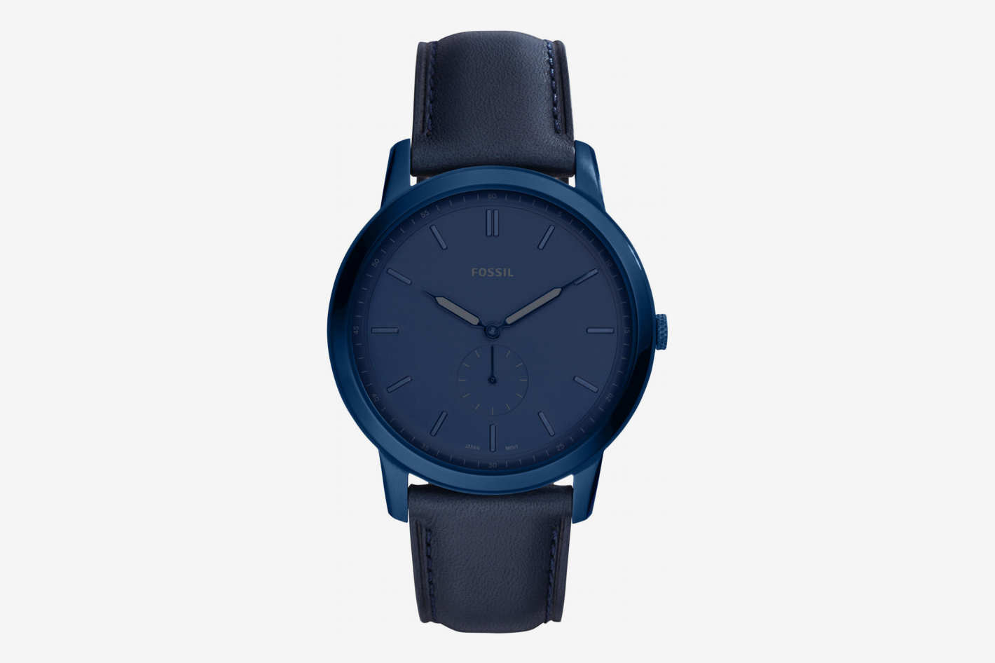 Fossil Minimalist Leather Strap Watch, 44mm