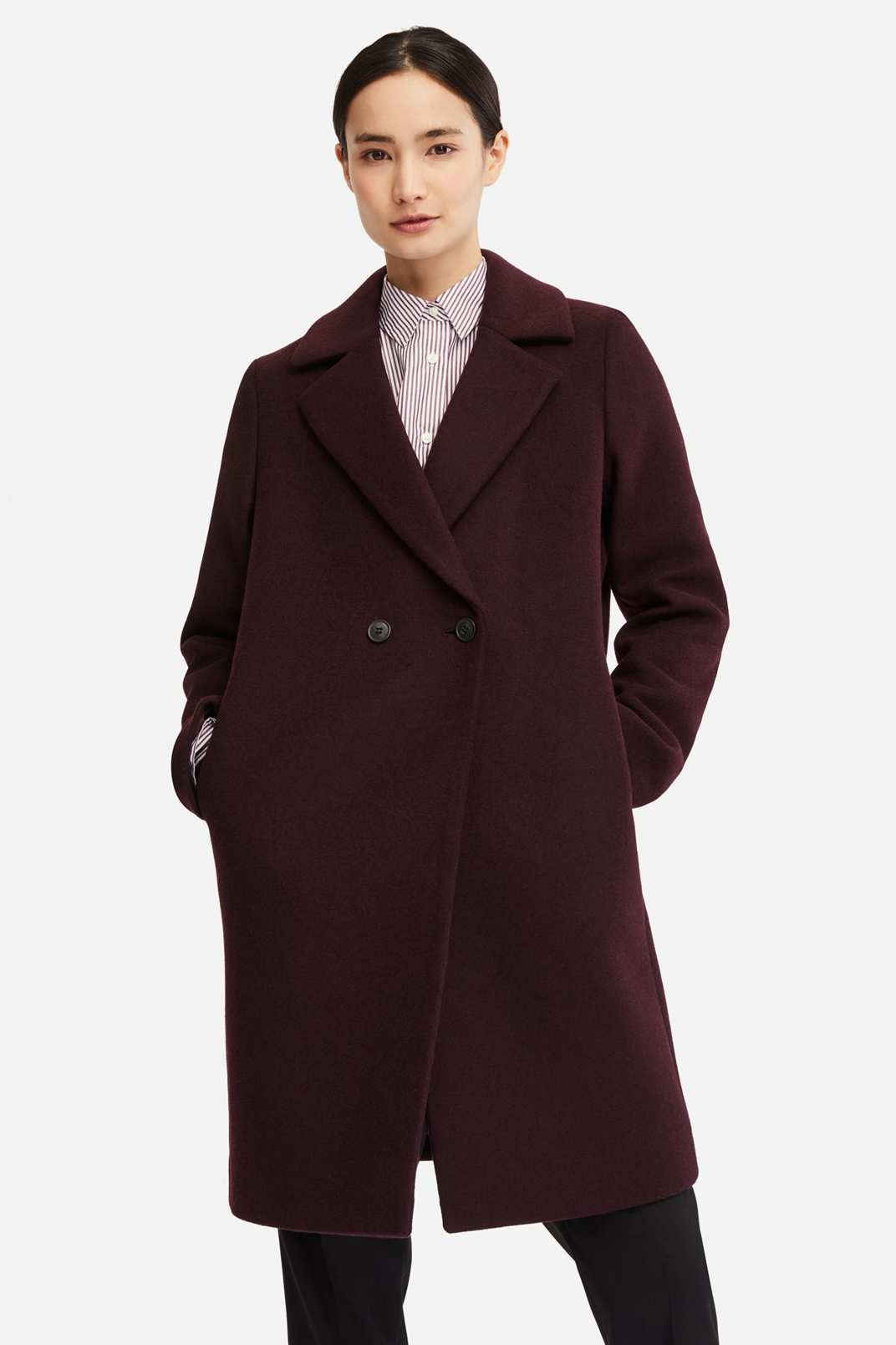 Uniqlo Women's Lightweight Wool Blend Tailored Coat