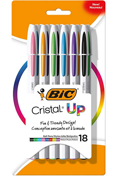 BIC Cristal Up Ball Pen, Medium Point, Assorted Colors, 18 Count