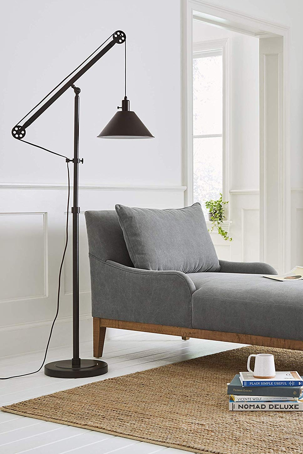 "Stone & Beam Modern Pully Floor Lamp, 64""H, With Bulb, Black"