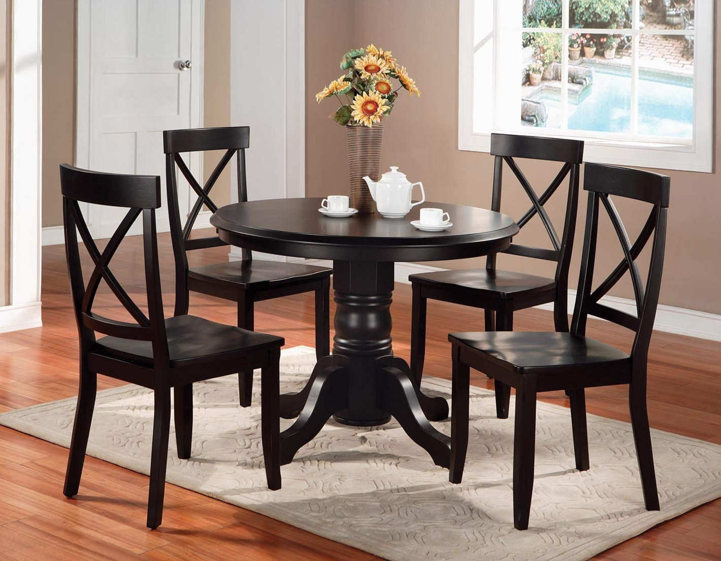 Home Styles 5 Piece Dining Set, Black Finish