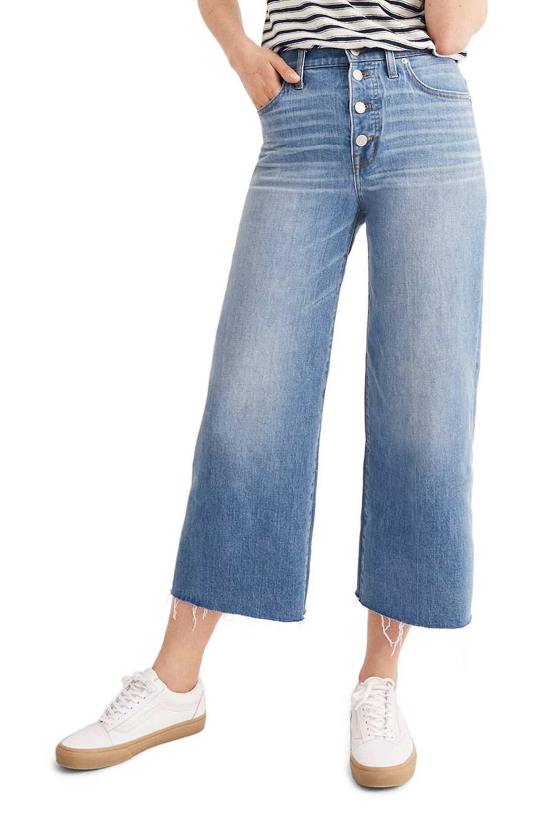 b148c3d58c7 Madewell Button Front Wide Leg Crop Jeans