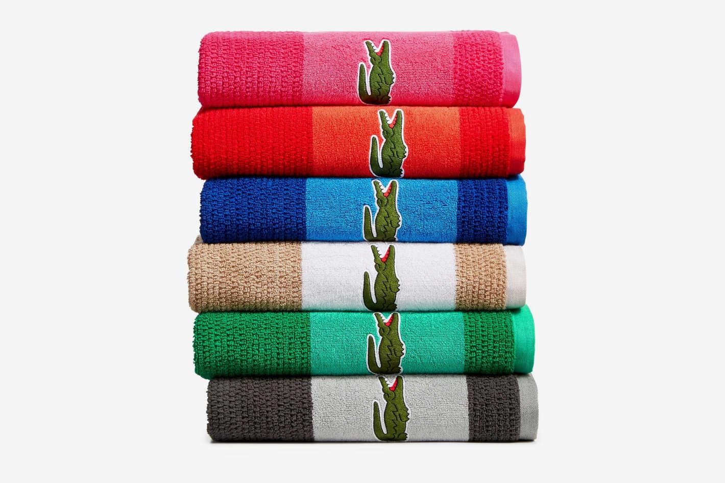 Lacoste Match Cotton Colorblocked Bath Towel
