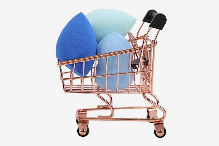 Makeup Blender Beauty Sponge 3 Piece Set with Mini Shopping Cart Holder