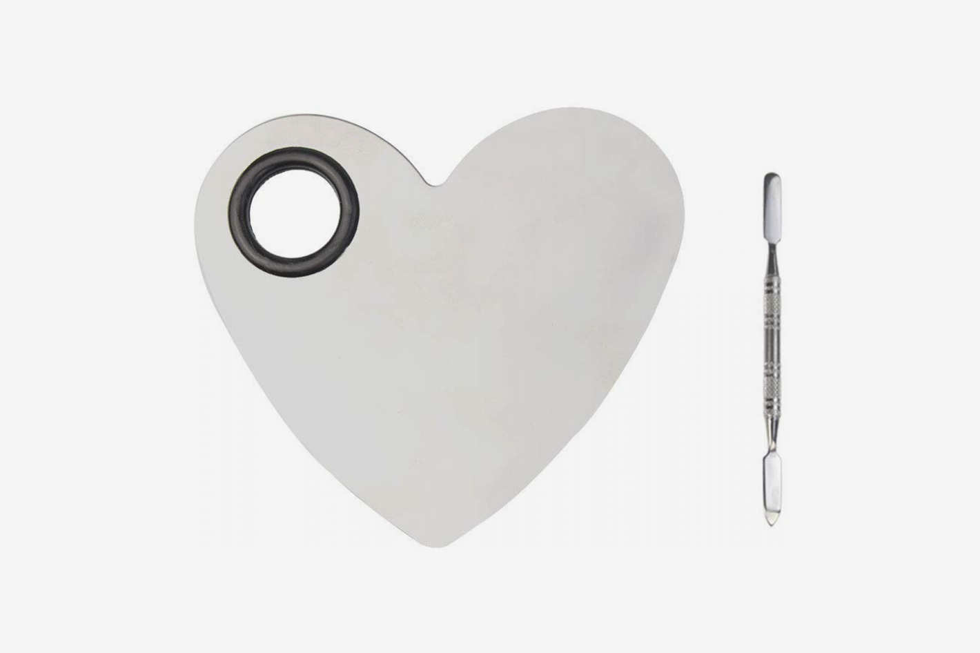 obmwang Stainless Steel Heart Shaped Makeup Palette Spatula