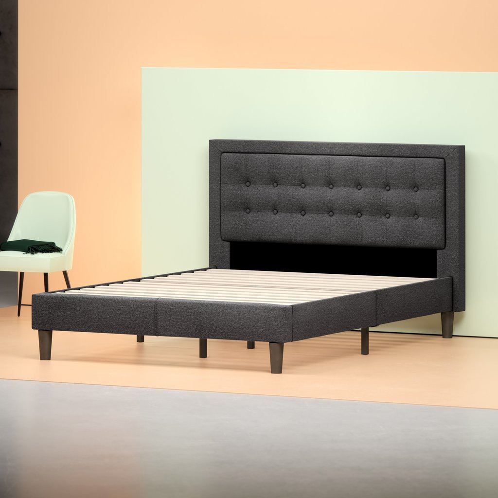 Zinus Upholstered Tufted Center Platform Bed Frame