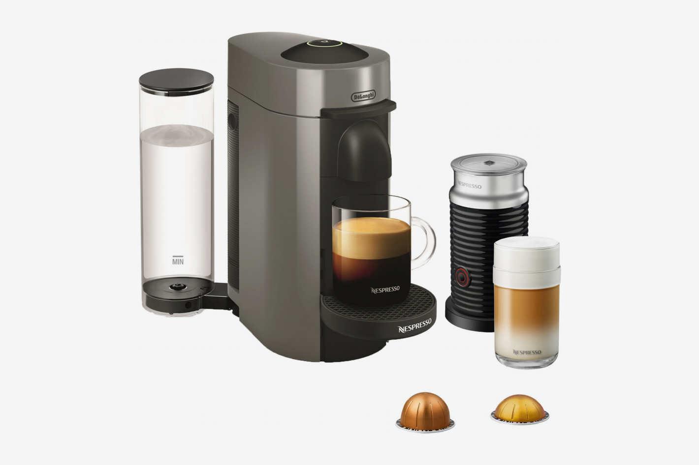 Nespresso VertuoPlus Coffee and Espresso Maker Bundle with Aeroccino Milk Frother by De'Longhi