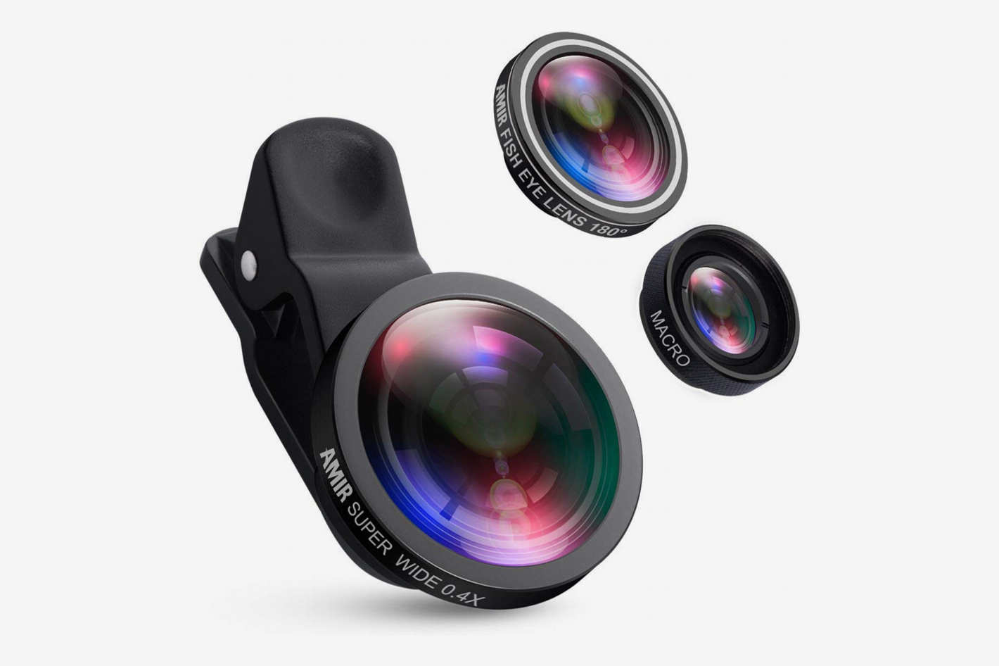 AMIR for iPhone Lens, 0.4X Wide Angle Lens + 180°Fisheye Lens & 10X Macro Lens, Clip on Cell Phone Lens for iPhone