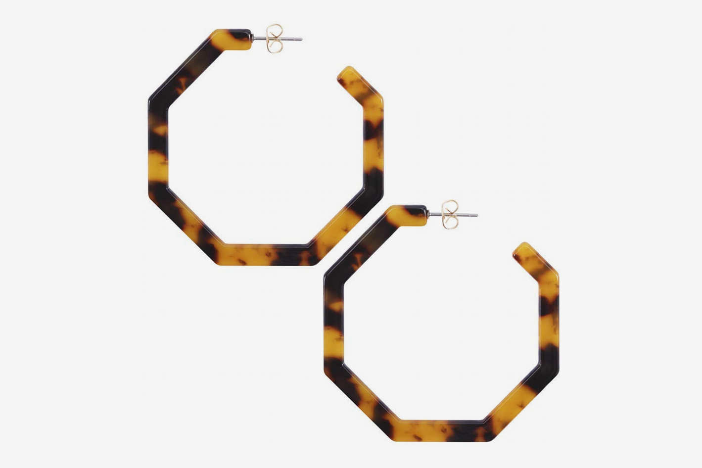 Acrylic Tortoise-Shell Hoop Earrings