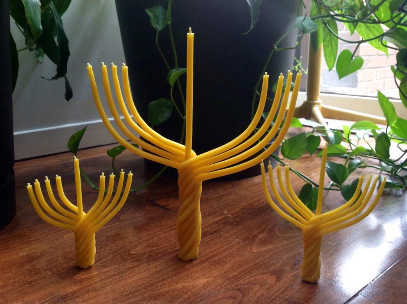 Beeswax Hanukkah Menorah candle