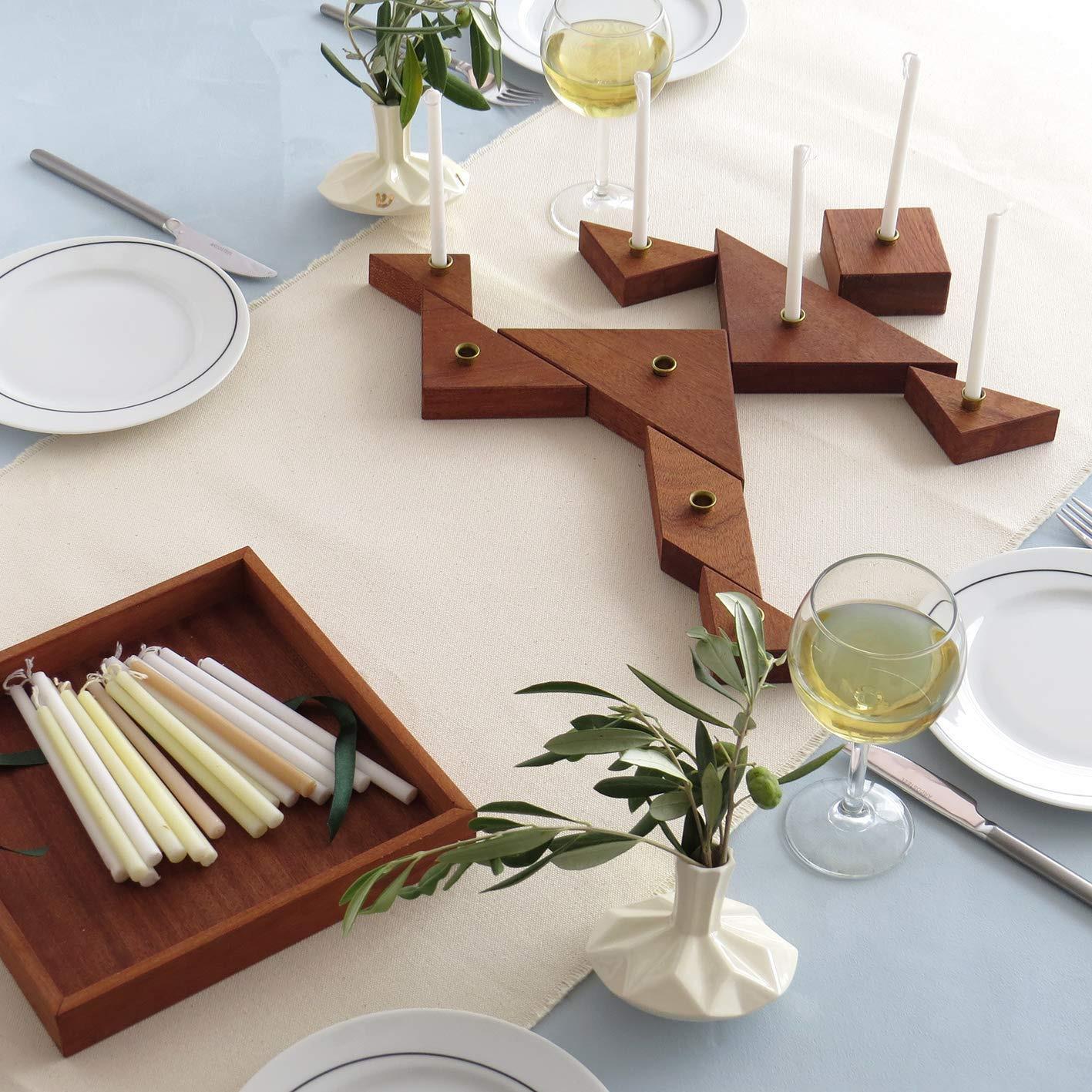 Tangram Chanukah Menorah - Modular Hanukkah Puzzle Wooden Chanukiah Handmade of Mahogany