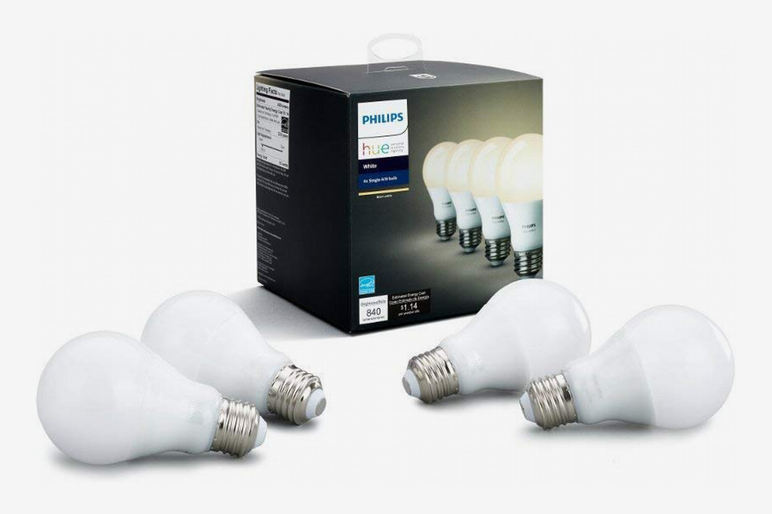 Philips Hue White A19 4-Pack 60W Equivalent Dimmable LED Smart Bulb