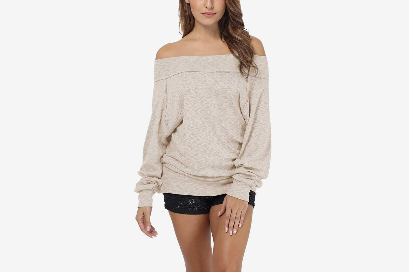 iGENJUN Women's Dolman Sleeve Off The Shoulder Sweater