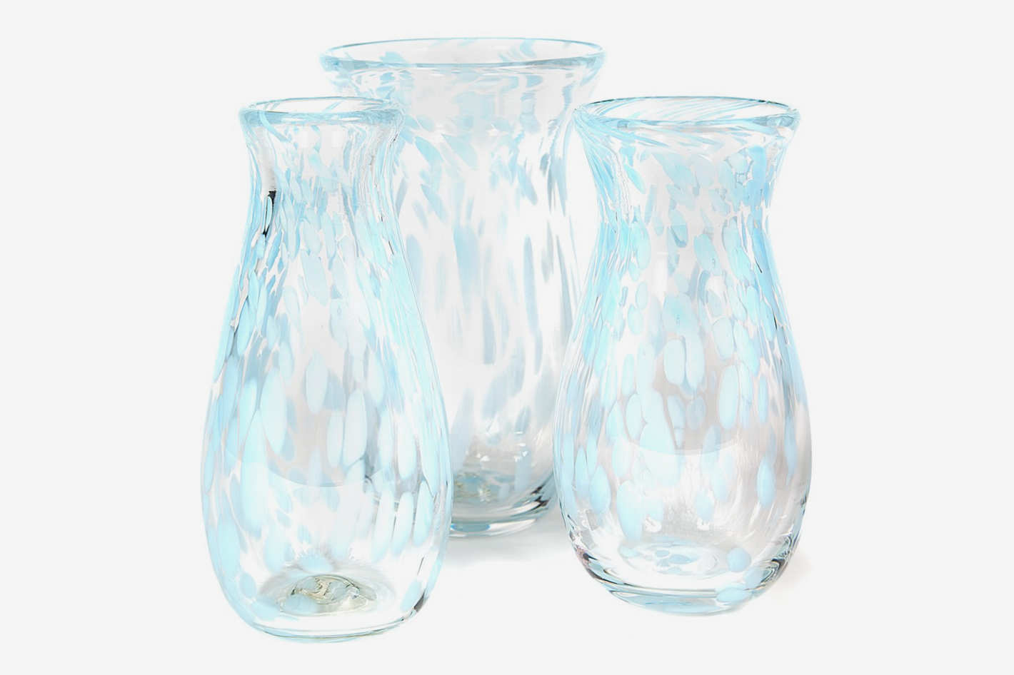 Paul Arnhold Glass Pale Aqua and Clear Speckled Vase