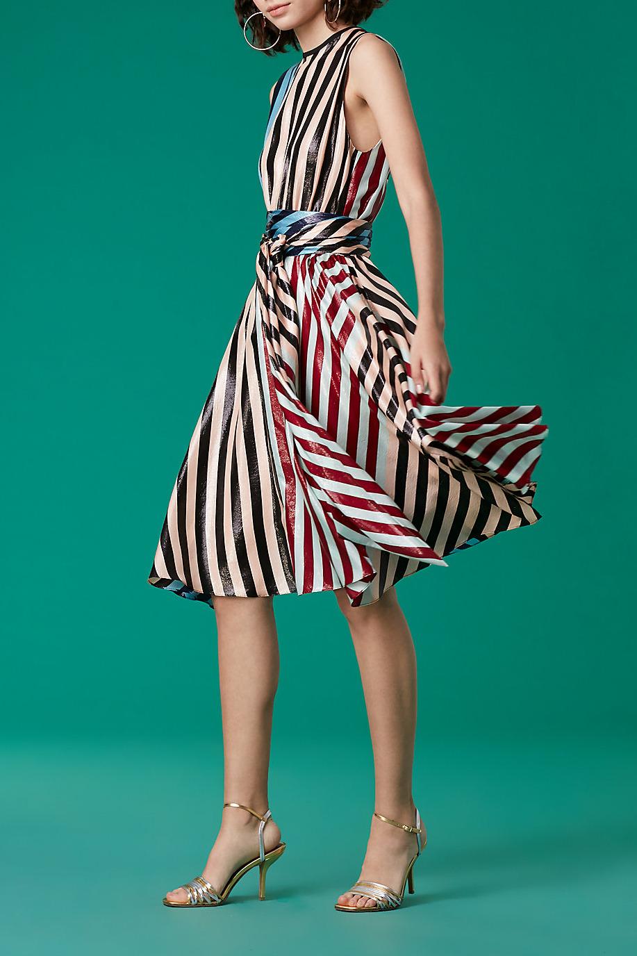 Diane von Furstenberg Sleeveless Waist Tie Draped Midi Dress