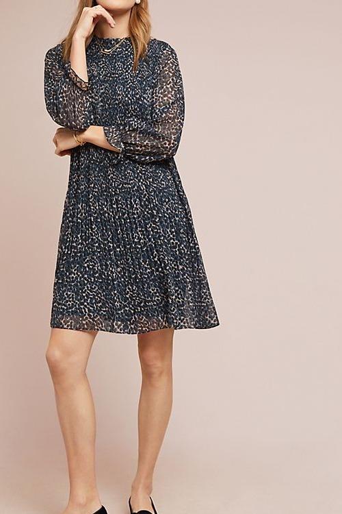 Pleated Leopard Dress